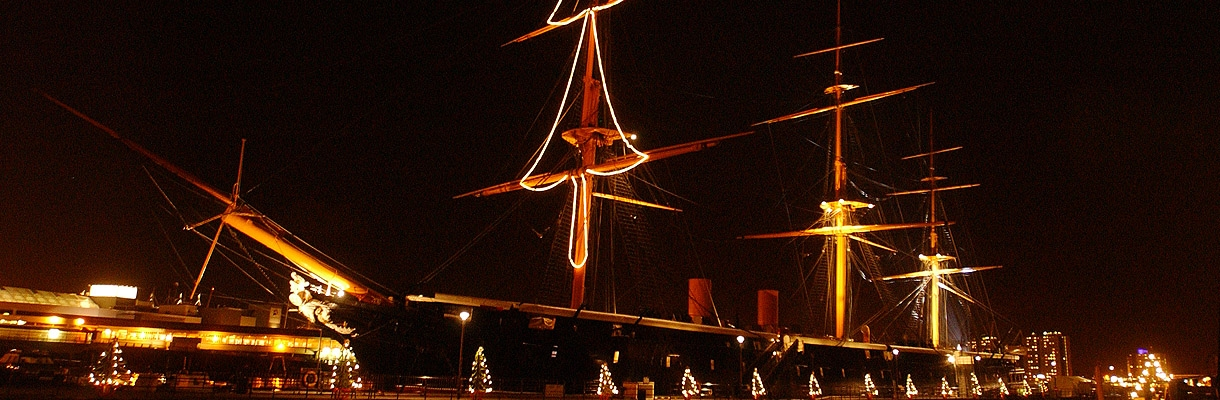 HMS Warrior's Christmas Lights